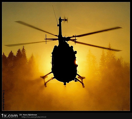 Helicopter in the sun
