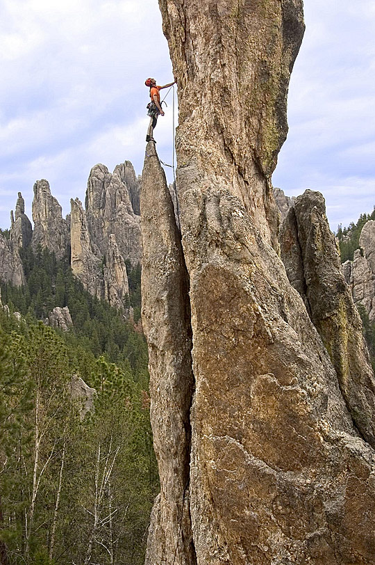 Feeling small rock climbing in Custer State Park
