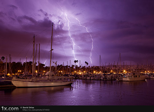 Lightning Behind Santa Barbara Harbor