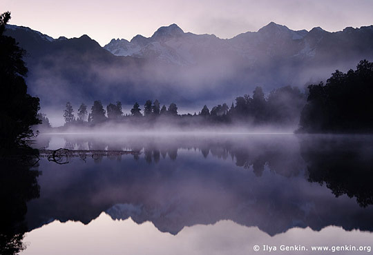 Mt Tasman and Aoraki/Mt Cook reflected in Lake Matheson, New Zealand