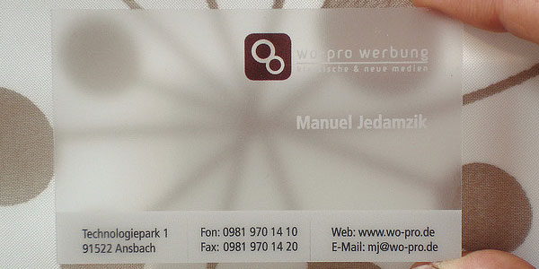 Translucent Frosted Plastic Business Card