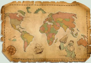 Tattered Ancient Vector World Map