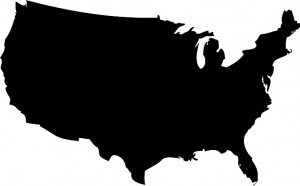United States Black Map Vector