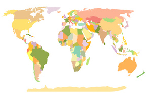 Vector World Map Pastel Colors