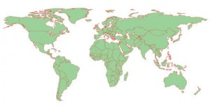 Green Red Vector World Map