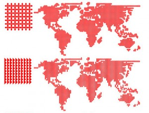 World Red Patterned Map Vector