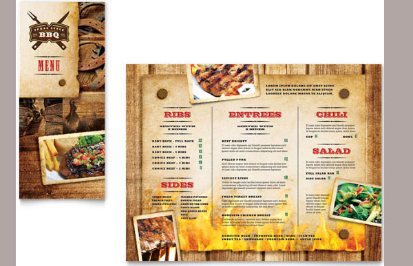 Steakhouse BBQ Restaurant Take-out Brochure Template