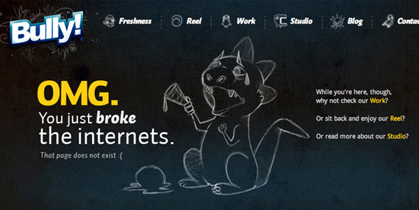 bully 40 Clever Yet Creative 404 Error Designs