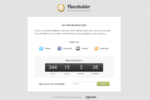 placeholder wordpress theme1 55+ Beautiful and Creative Coming Soon Pages & WordPress Theme