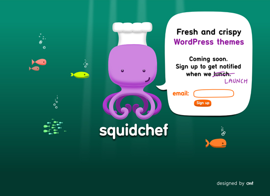 squid chef 55+ Beautiful and Creative Coming Soon Pages & WordPress Theme