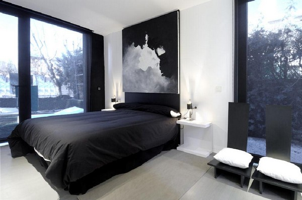 Modular House in Madrid Spain interior design bedroom  Black & White Inspiration: 35 Contemporary Decors Opening Up A World of Ideas