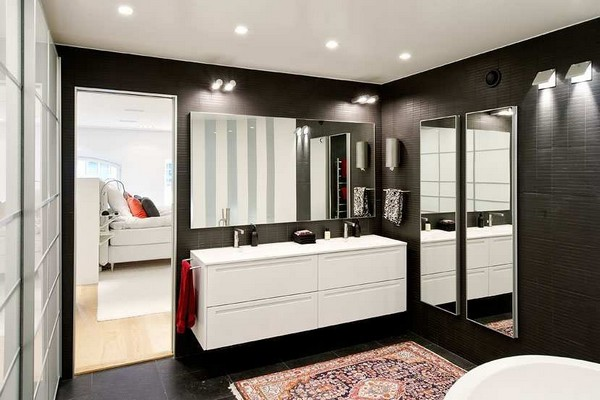 bathroom black and white at Stunning Loft House with the Best Interior Design Sweden  Black & White Inspiration: 35 Contemporary Decors Opening Up A World of Ideas