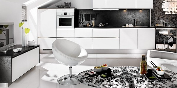 minimalist black white living kitchen  Black & White Inspiration: 35 Contemporary Decors Opening Up A World of Ideas
