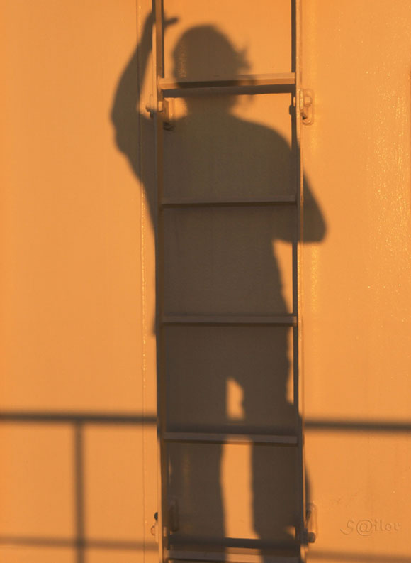 Shadow Climbing the Ladder at Sunset