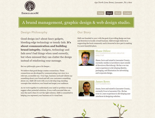 0134 12 emerge bloom1 40 Groovy Examples of About Me Page Designs