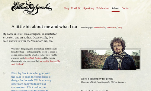 elliotjaystocks 40 Groovy Examples of About Me Page Designs