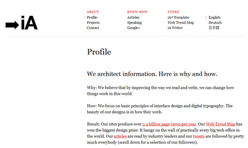 informationarchitects 40 Groovy Examples of About Me Page Designs