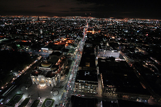 mexico city at night, looking north from the torre latinoamericana