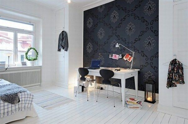 black and white apartment design 3 554x366 40 Scandinavian Wallpaper Ideas Making Decorating a Breeze