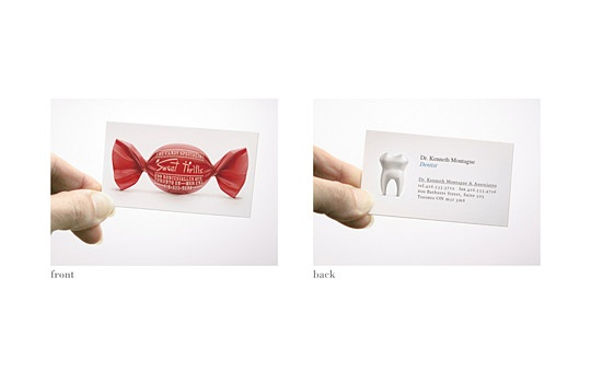 Sweet Thrills Candy Store and Dr. Kenneth Montague (Dentist): Dual-Sided Business Card