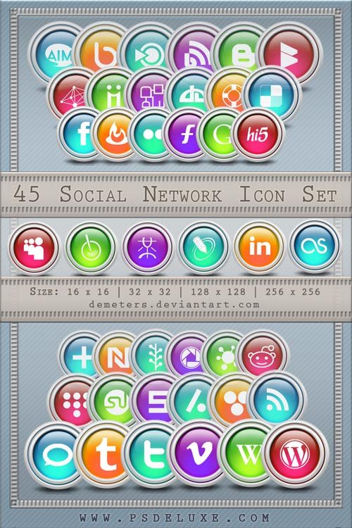 Ultimate Social Network Icon Pack (45 Icon Sets)