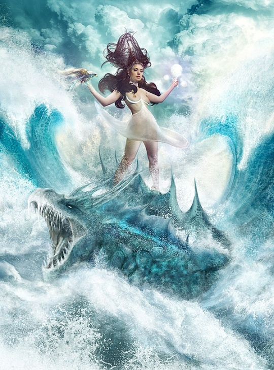 Sorceress and water Dragon