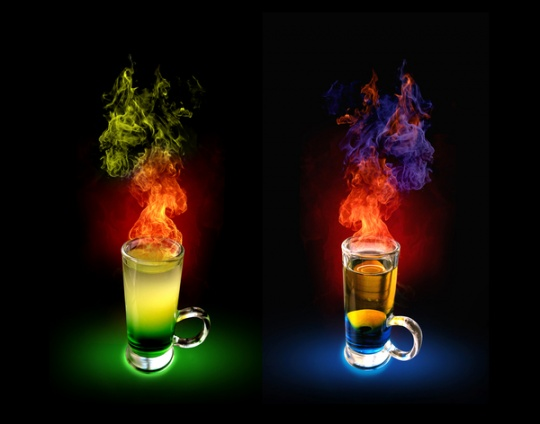 Fiery cocktail