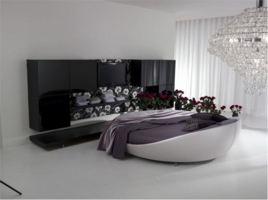 Modern Leather Round Bed