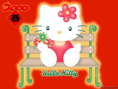 Hello Kitty At Garden Bench