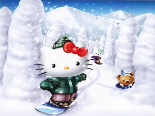 Snowboarding Kitty