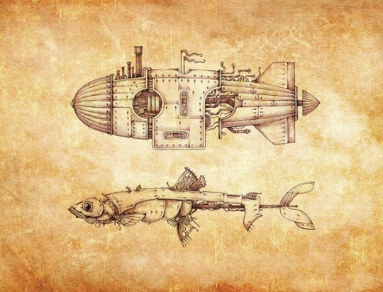 Sketches in style steampunk