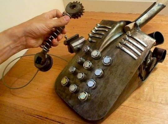 Steampunk-looking desk phone
