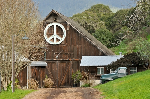 Peace Sign On The Side Of a Barn