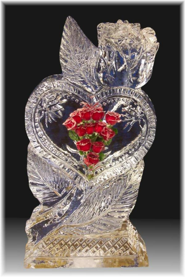 Glass Heart With Red Roses