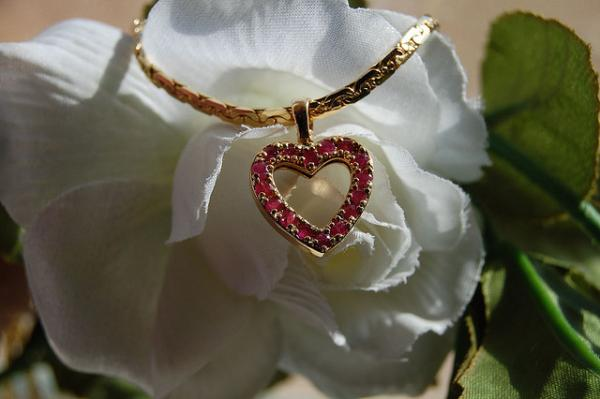 Heart Necklace On White Rose