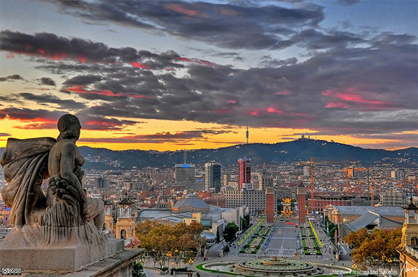 Barcelona sunset HDR in Collection of Fascinating Barcelona Photographs