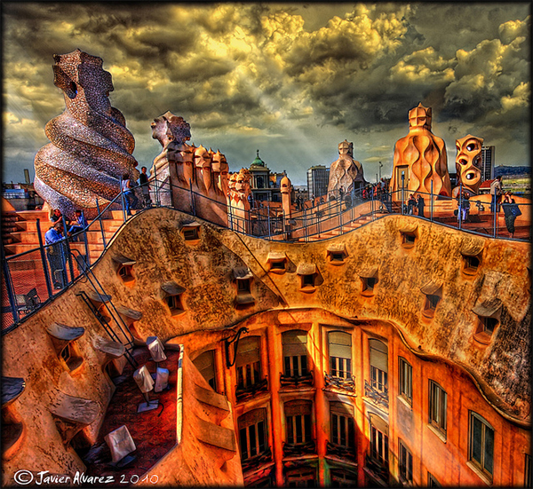 La Pedrera - Terraza in Collection of Fascinating Barcelona Photographs