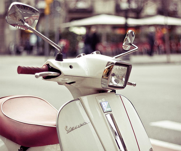 Vespa - Red & White in Collection of Fascinating Barcelona Photographs