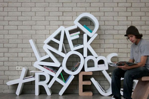 letters bookshelf 30 Creative Ways of Bringing Letters and Words Into Your Home