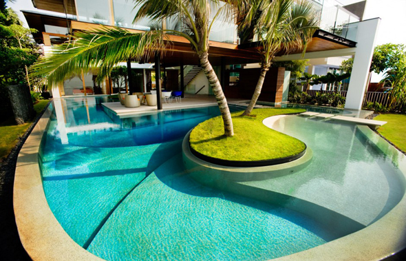 modern pool with palm trees 30 Poolside Terrace Ideas to Get Your Home Ready for the Summer