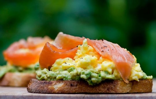 Open Face Sandwich with Avocado, Egg and Smoked Salmon