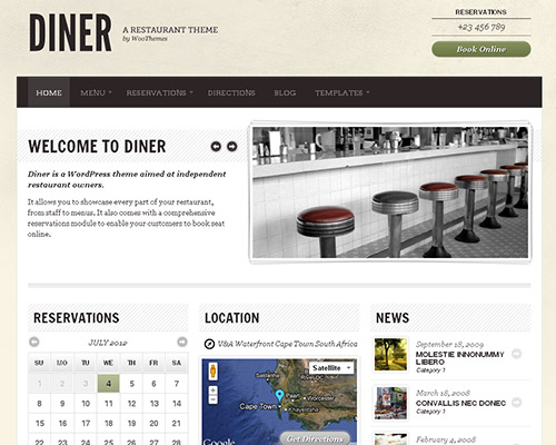 wp business theme diner Clean and Clear Fresh WordPress Business Themes