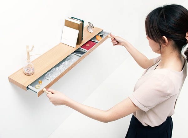 Clopen Shelf by Torafu Architects 1 Magnets Hiding Storage Space In 34mm Thick Shelf