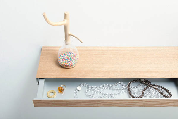 Clopen Shelf by Torafu Architects 3 Magnets Hiding Storage Space In 34mm Thick Shelf