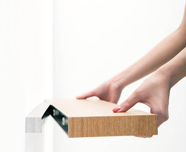 Clopen Shelf by Torafu Architects 5 Magnets Hiding Storage Space In 34mm Thick Shelf