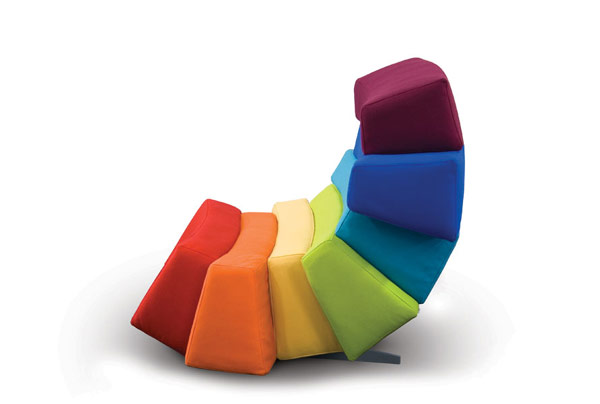 IRIS8 Colorful and Comfortable Upholstered Furniture Inspired by Rainbows: IRIS