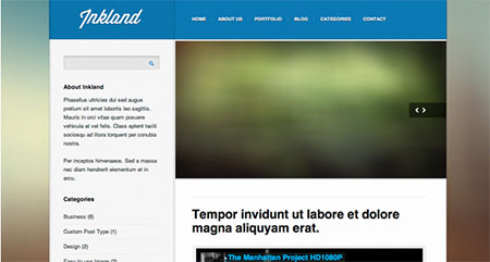 Inkland theme home page