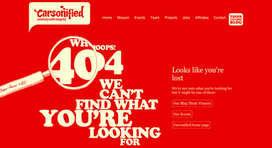 Carsonified 404 Error Page