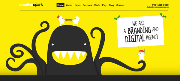 creative spark Yellow Colored Website Designs for Inspiration