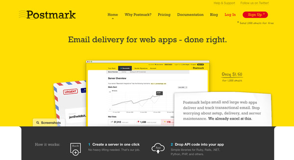 postmark Yellow Colored Website Designs for Inspiration